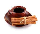一起孤立的肉桂棒杯咖啡 — 图库照片