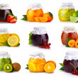 Photo: Set of glass jars with exotic fruits jam isolated
