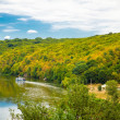 Stock Photo: Beautiful autumn lanscape with river and forrest