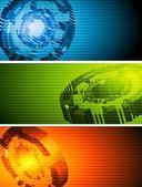 Abstract hi-tech vector banners — Stock Vector