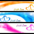 Waves vector banners with abstract hearts — Stock Vector