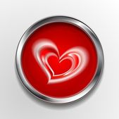 Abstract vector button with love symbol — Stock Vector