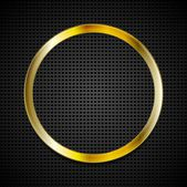 Bright golden ring on perforated texture — Stock vektor