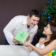 Happy pregnant couple near the christmas tree - Stockfoto