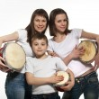Royalty-Free Stock Photo: Happy smiling mother with children with drums