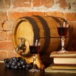 Retro still life with red wine and barrel — Stock Photo #13181404