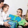 Happy family with presents — Stock Photo #13186767