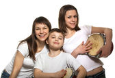 Happy family with drums — Stock Photo