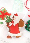 白い背景の上のクリスマス サンタのクッキー — ストック写真
