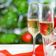 Glasses of champagne and Christmas decorations — Stock Photo #13369829