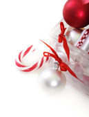 Christmas decorations in front of white background — Stock Photo