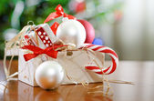 Box with Christmas decorations — Stock Photo