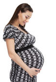 Happy young pregnant woman — Stok fotoğraf