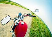 Drivers view of the cockpit in a modern motorcycle — Stock Photo