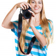Girl photographer takes photos — Foto Stock