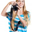 Girl photographer takes photos — Stok fotoğraf