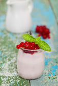 Red currant yoghurt — Stock Photo