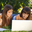 Happy young girls having fun using a computer — Stockfoto