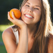 Stock Photo: Beautiful young girl with open smile