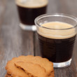 Stock Photo: Hot espresso coffee and cookies