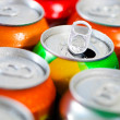 Cans of sweet drinks (or beer) — Stock Photo