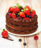 Schokoladenkuchen mit sahnehäubchen und frischen beeren — Stockfoto