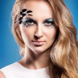 Portrait of beautiful blond girl with make up — Stockfoto