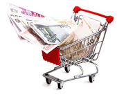 Shopping cart with euro isolated on white — Stock Photo