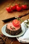 Tasty duck pate appetizer with fresh herbs — Stock Photo
