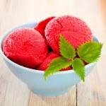 Strawberry ice cream in blue bowl — Stock Photo #20392567