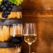 Still life with glasses of the red and white wine — Stock Photo