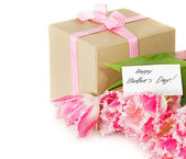 Bunch of tulips and gift box — Stock Photo
