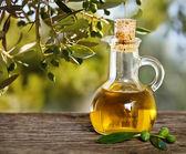 Azeite de oliva e ramo de oliveira na mesa de madeira — Foto Stock