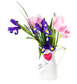 Bouquet of pink tulips, violet iris and muscari in the pot — Stock Photo