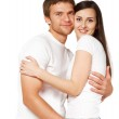 Portrait of a young beautiful smiling couple — Stock Photo