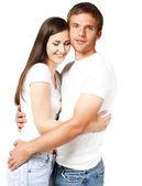 一对年轻漂亮微笑夫妇的肖像 — 图库照片