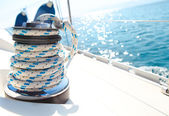 Sailboat winch and rope yacht detail — Stok fotoğraf