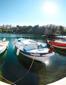 Boats at Voulismeni lake in Agios Nikolaos. Crete — Stock Photo