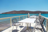 Outdoor pier cafe. Elounda, Crete — Stock Photo