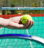 Close up of tennis racquet and ball in hands — Stock Photo