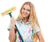 Attractive housewife is going to fight dirty — Stock Photo
