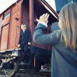 Stock Photo: Little boy and little girl in retro train