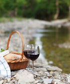 Red wine, cheese and bread served at a picnic — Stock Photo