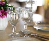 Empty glasses in restaurant — Stock Photo
