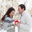 Happy young couple having fun in the winter park — Stock Photo #32029169