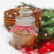 Stock Photo: Christmas still life with Christmas decorations, cookies, fur-