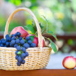 Tasty grapes and apples in the basket in the gazebo — Stock Photo