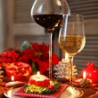 Christmas still life with white and red wine  — Foto de Stock