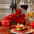 Christmas still life with white and red wine  — Stock Photo