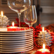 Christmas table preparations — Stock Photo
